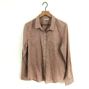 Halogen Printed Button Up Shirt Large